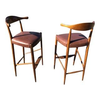 """Hans Wegner Style """" Horn"""" Barstools"""