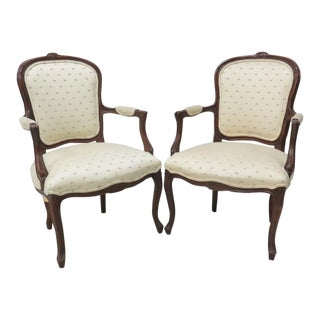 Louis XV Style Carved Walnut Armchairs - A Pair