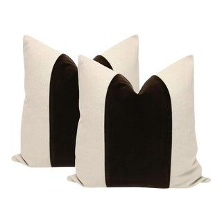 "22"" Chocolate Velvet Panel and Linen Pillows - a Pair"