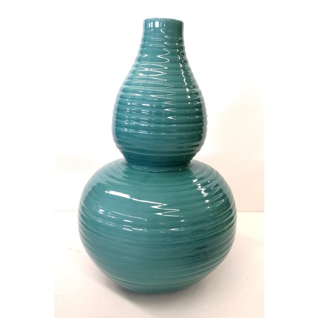 Transitional Turquoise Ribbed Custom Lamp Base - Image 4 of 11