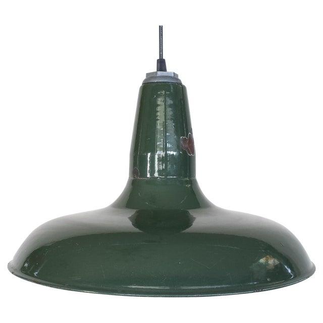 Vintage Industrial Green Enamel Barn Lamp Shade - Image 1 of 9