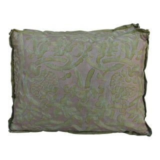 Green and Gold Fortuny Pillows - A Pair