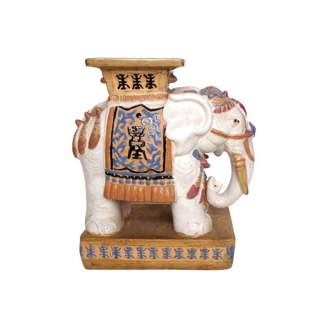Glazed Elephant Drink Table Garden Stool - Image 2 of 5