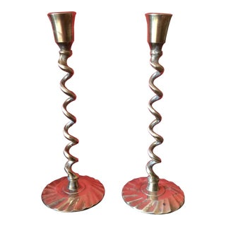 Barley Twist Spiral Brass Candleholders - Pair