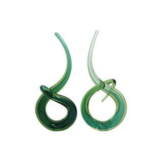 Emerald Green Murano Glass Sculptures - Pair