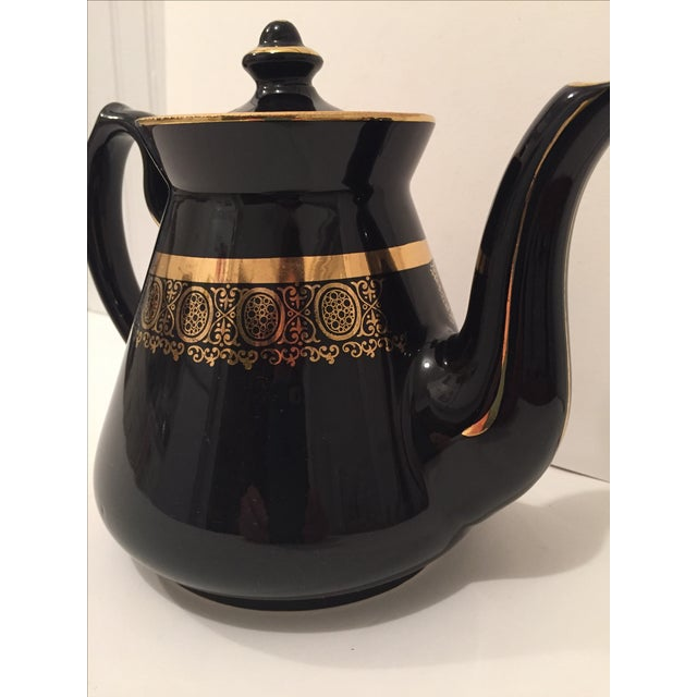 """Black and Gold Hollywood Regency """"Hall Usa"""" Teapot - Image 6 of 9"""