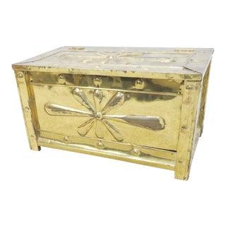 Decorative Embossed Brass Kindling Box