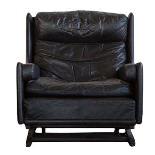 Norwegian Black Leather Lounge Rocker