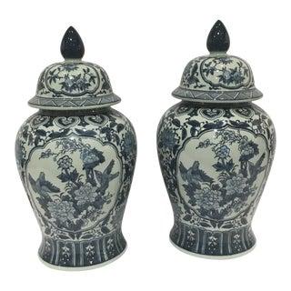 Tozai Blue & White Ginger Jars - a Pair