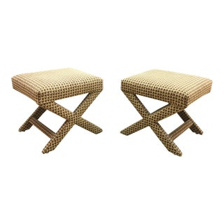 Upholstered X Ottoman Benches - A Pair