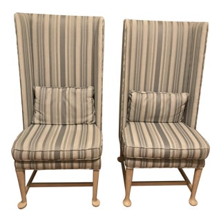 1960s Striped High Back Chairs - a Pair