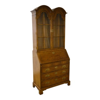Henredon Double Bonnet Top Yew Wood Secretary Desk