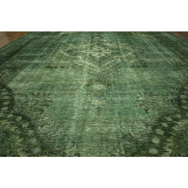 Overdyed Floral Hand Knotted Wool Rug - 9' x 12' - Image 6 of 10