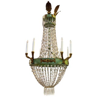 French Empire Style Painted and Parcel Gilt Tole and Crystal Chandelier
