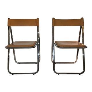 Italian Chrome and Leather Tamara Folding Chairs - a Pair
