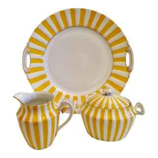 Silesian Art Deco Yellow Porcelain Serving Pieces- Set of 3