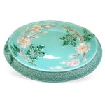 Image of Antique Majolica Turquoise & Rose Bread Tray