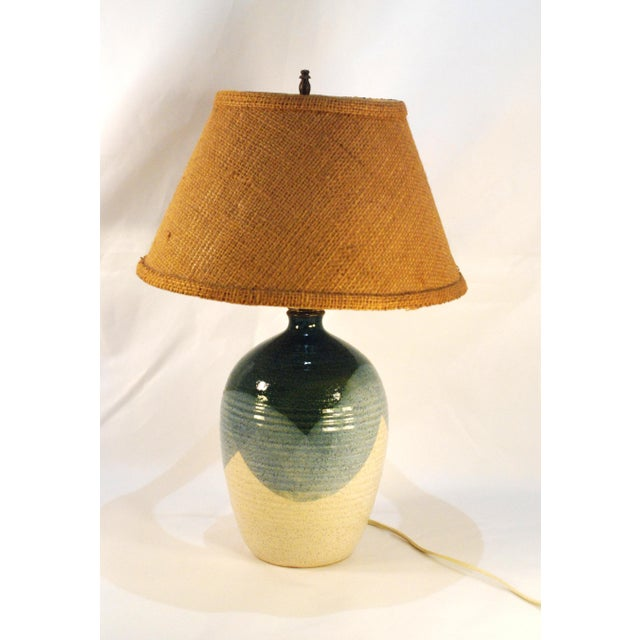 Image of Mid-Century Blue & Tan Pottery Lamp