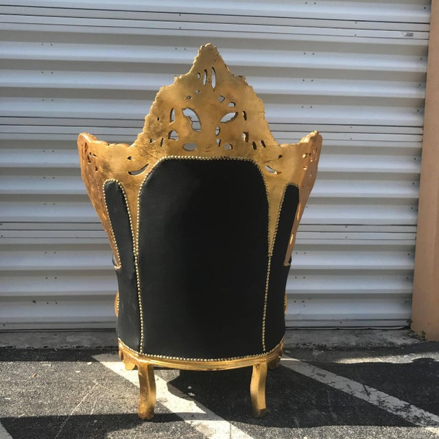 Italian Rococo Chairs in Black Leather -A Pair - Image 4 of 5