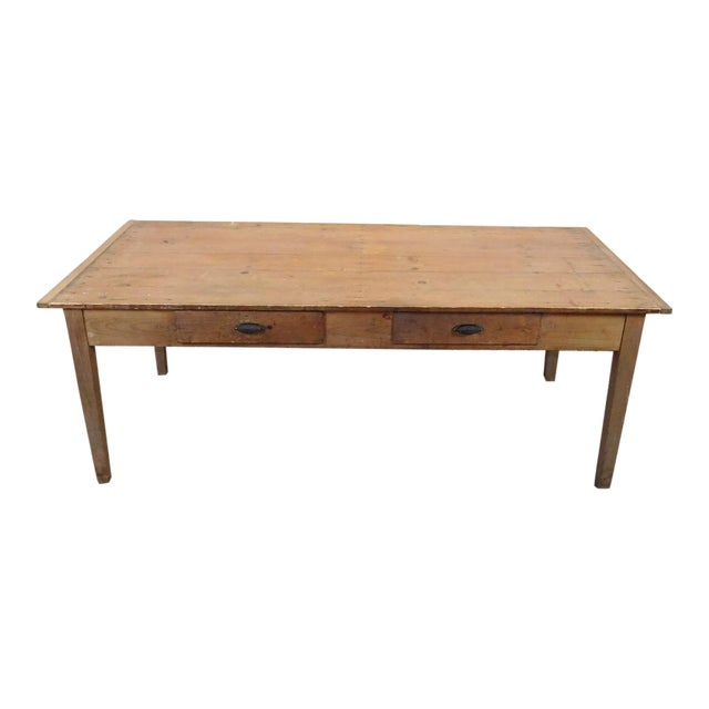 Primitive rustic pine dining room table chairish for Pine dining room table