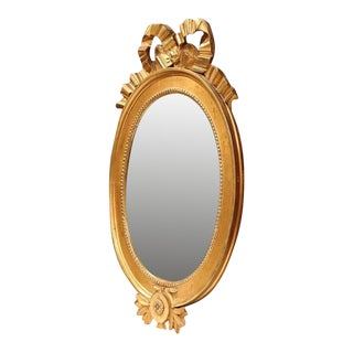 18th Century French Louis XVI Carved Oval Gold Leaf Mirror