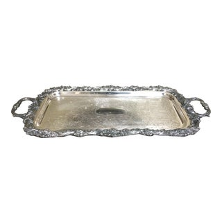 """Antique Vintage Silverplate Butler Footed Tray 25"""" Long Heavy and Ornate"""