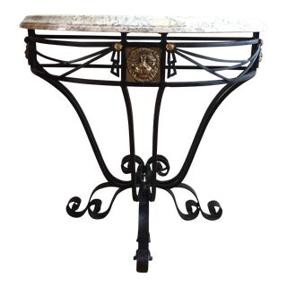 Iron & Brass Demilune Console Table