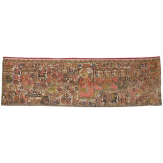 Mid-19th Century Antique Indian Wall Tapestry, 04'09 X 16'00