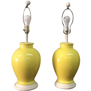 Mid Century Yellow Ceramic Lamps - Pair