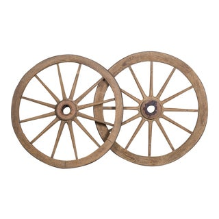 Pair Antique French Iron Bound Wagon Wheels circa 1880