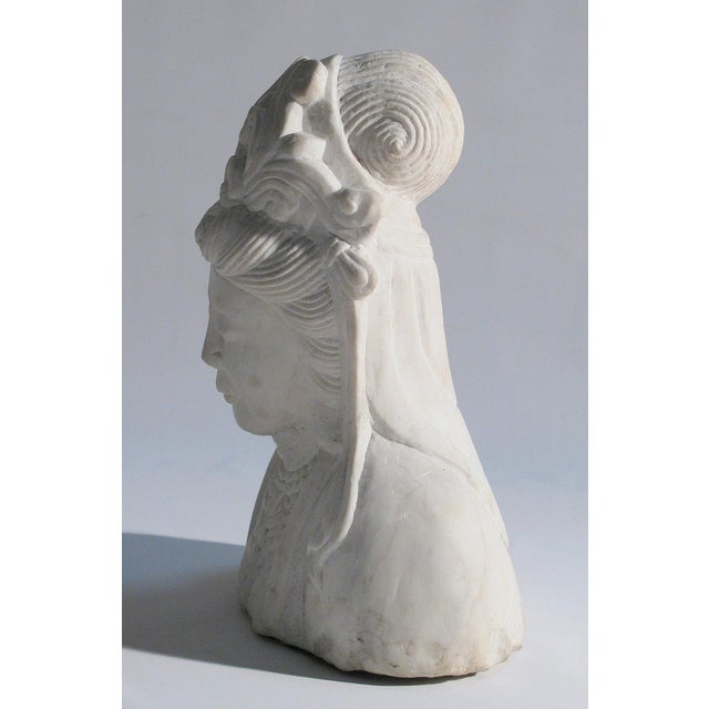 Hand Carved Solid Marble Bust of Quan Yin - Image 5 of 5