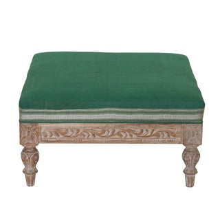 Carved Ottoman with Vintage Kantha