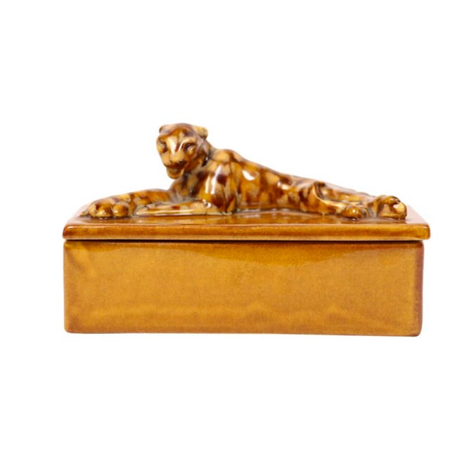 Mid-Century Leopard Lidded Box - Image 1 of 3
