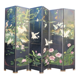 1940's Monumental 6-Panel Japanese Screen