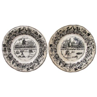 Antique French Transferware Rebus (Riddle) Plates, Pair