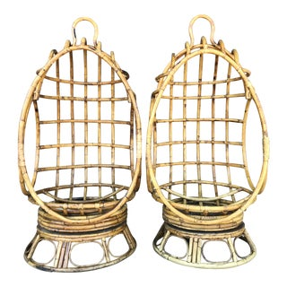 Vintage Mid Century Rattan Swivel Egg Chairs-A Pair