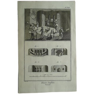 Antique 18th C. Engraving - Glass Making