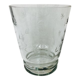 Large Etched Glass Vase