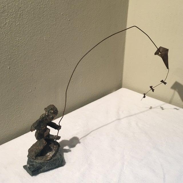 Bronze Brutalist Sculpture Of Boy With Kite Chairish