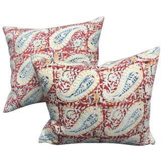 Indian Paisley Block Print Pillows - A Pair