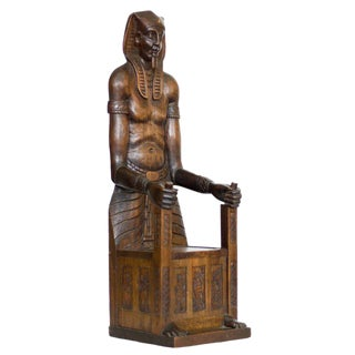 Carved Egyptian Pharaoh Amenhotep III Thrown Jewelry Box