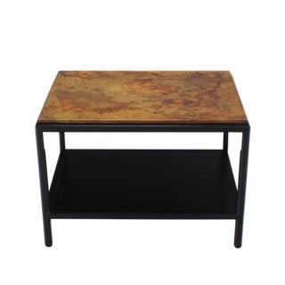 John Stuart Abonized Walnut Base Copper Top Rectangular Side End Table Stand