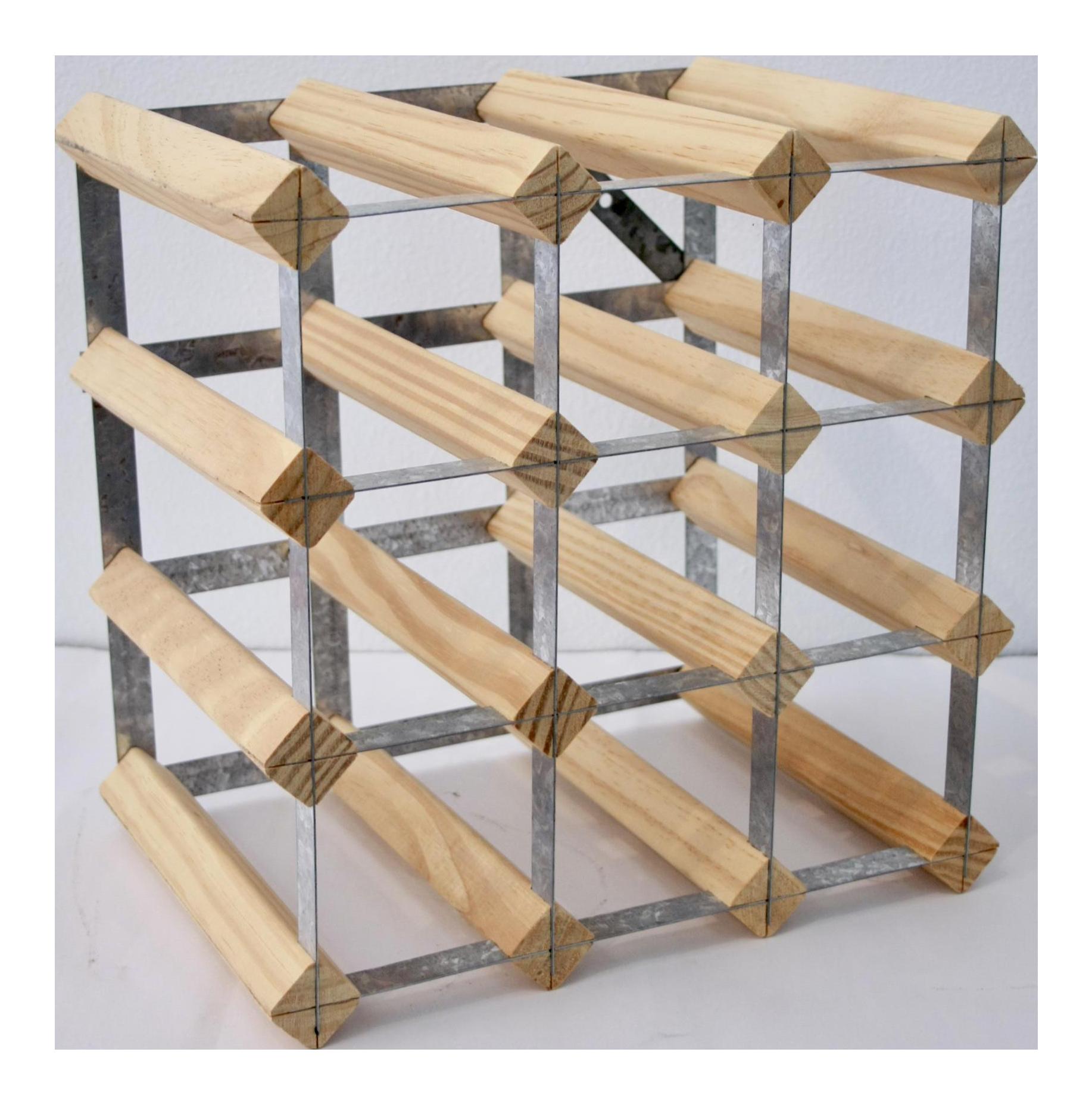 industrial style steel u0026 wood wine rack