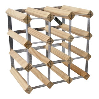 Industrial Style Steel & Wood Wine Rack