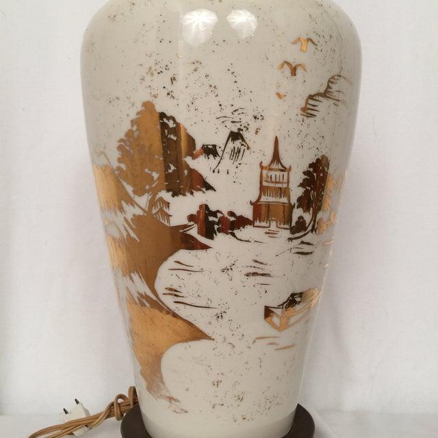 Image of Vintage Asian Lamp w/Gold Leaf Details