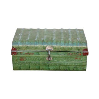1950s Green Iron Traveler's Trunk