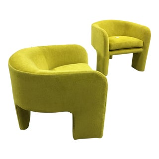 Milo Baughman Lime Green 3 Legged Chairs - A Pair