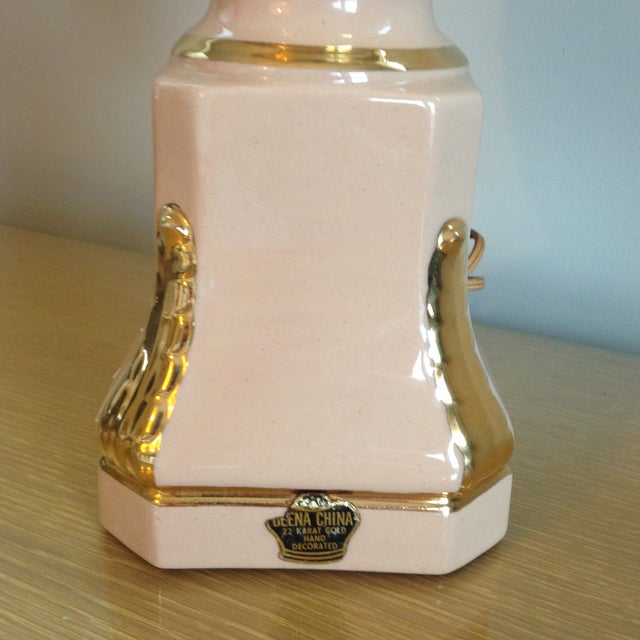 Vintage Blush Colored Deena China Lamp - Image 8 of 11