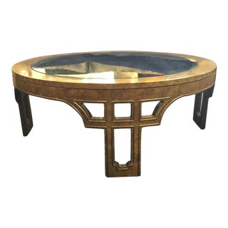 Mastercraft Burled and Brass Coffee Table