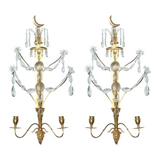 Fine Pair Baltic Gilt Bronze and Cut Crystal Two-Light Appliques